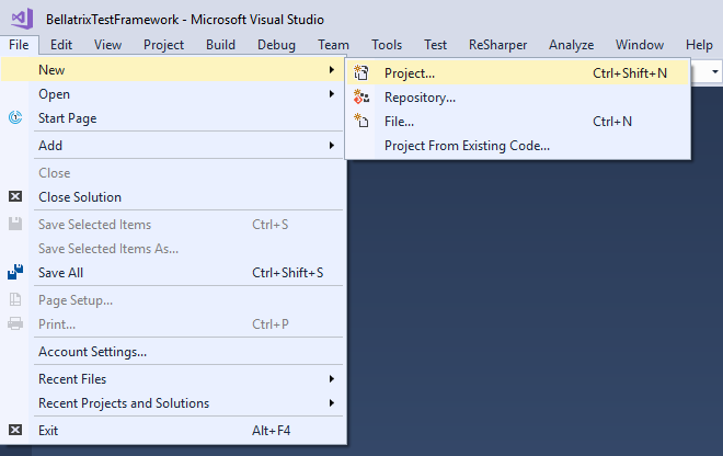 Create New Project Visual Studio